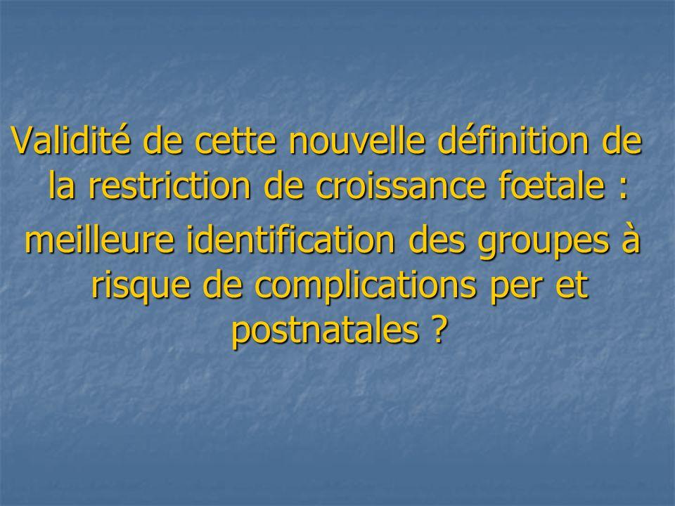 Validité de cette nouvelle définition de la restriction de croissance fœtale :