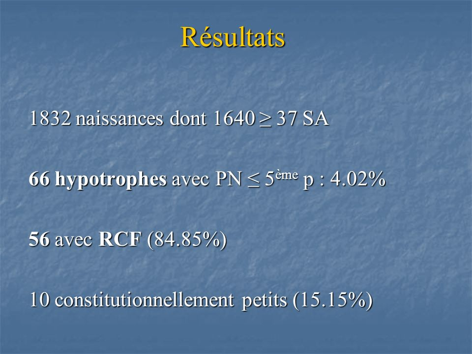 Résultats 1832 naissances dont 1640 ≥ 37 SA