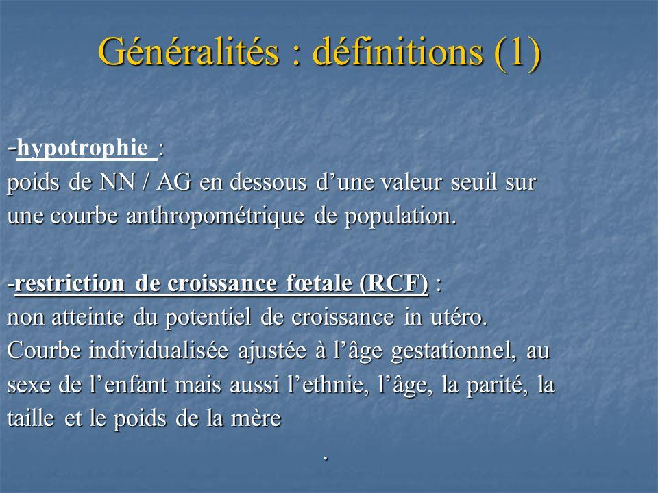 Généralités : définitions (1)