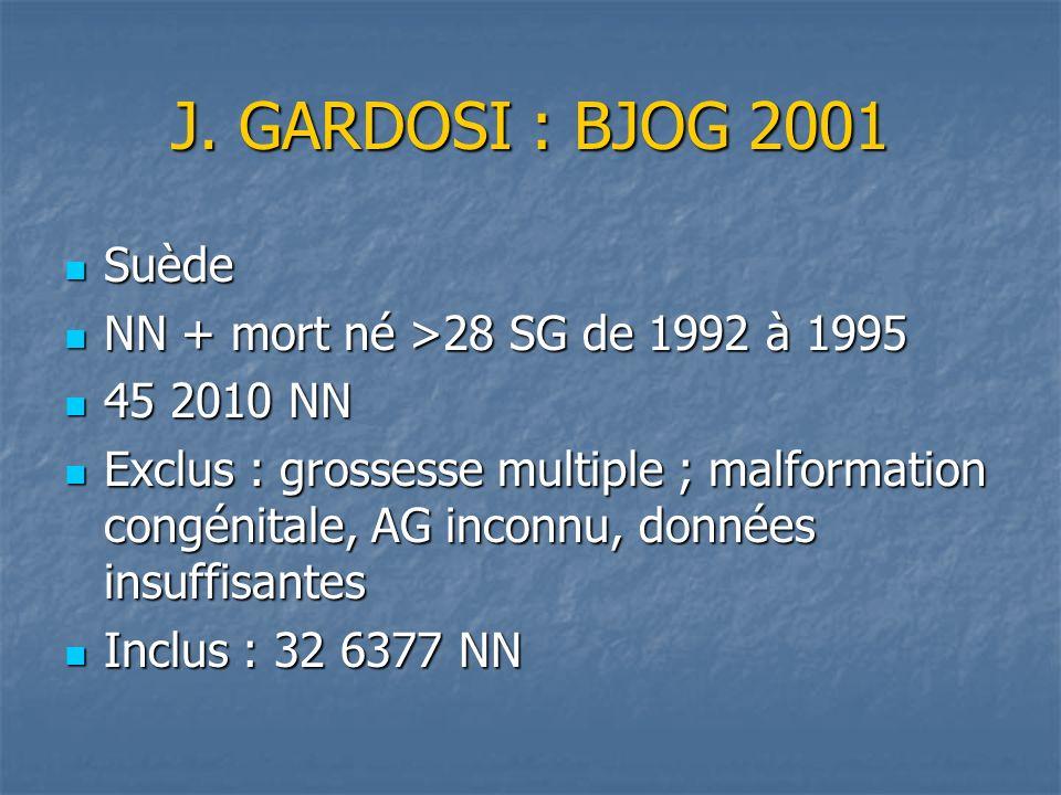 J. GARDOSI : BJOG 2001 Suède NN + mort né >28 SG de 1992 à 1995