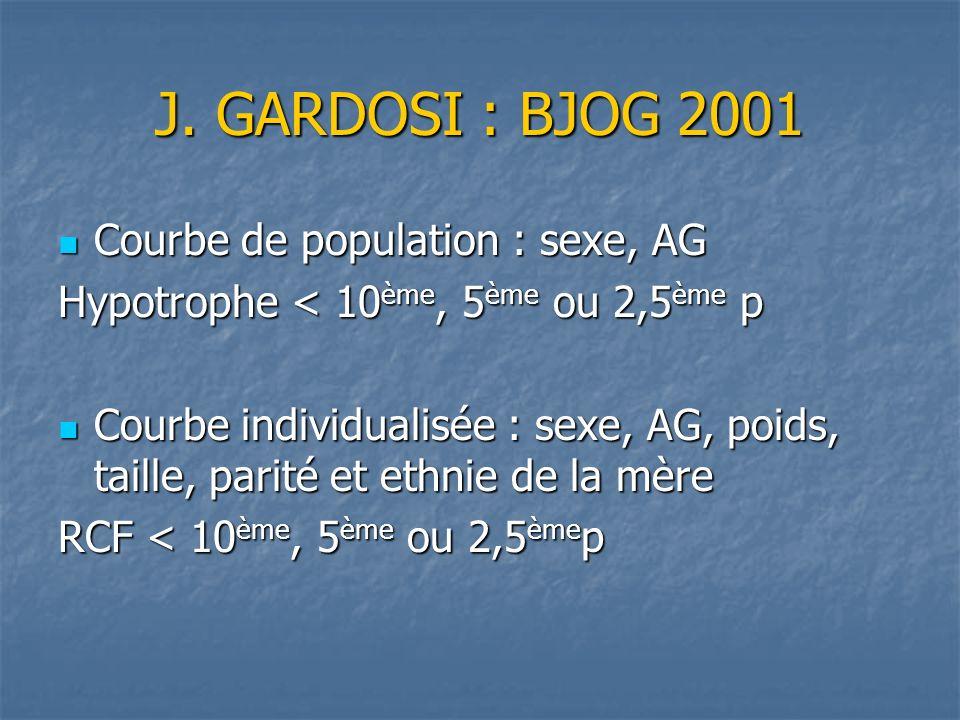 J. GARDOSI : BJOG 2001 Courbe de population : sexe, AG