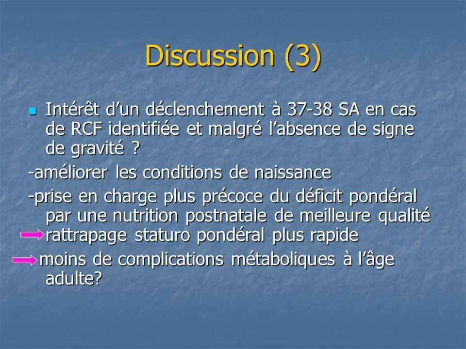 Discussion (3) Intérêt d'un déclenchement à 37-38 SA en cas de RCF identifiée et malgré l'absence de signe de gravité