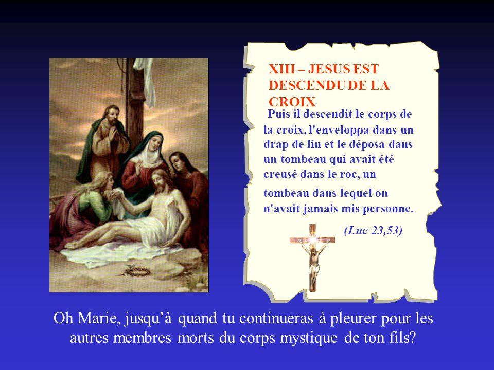 XIII – JESUS EST DESCENDU DE LA CROIX