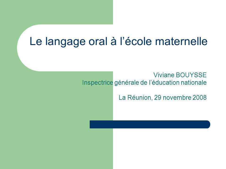 Le langage oral à l'école maternelle