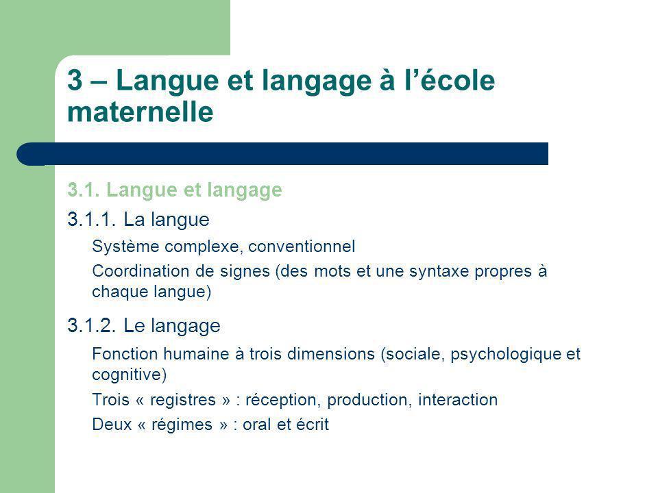 3 – Langue et langage à l'école maternelle
