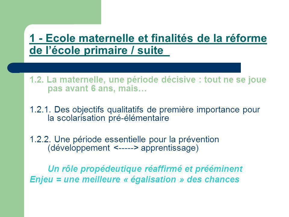 1 - Ecole maternelle et finalités de la réforme de l'école primaire / suite