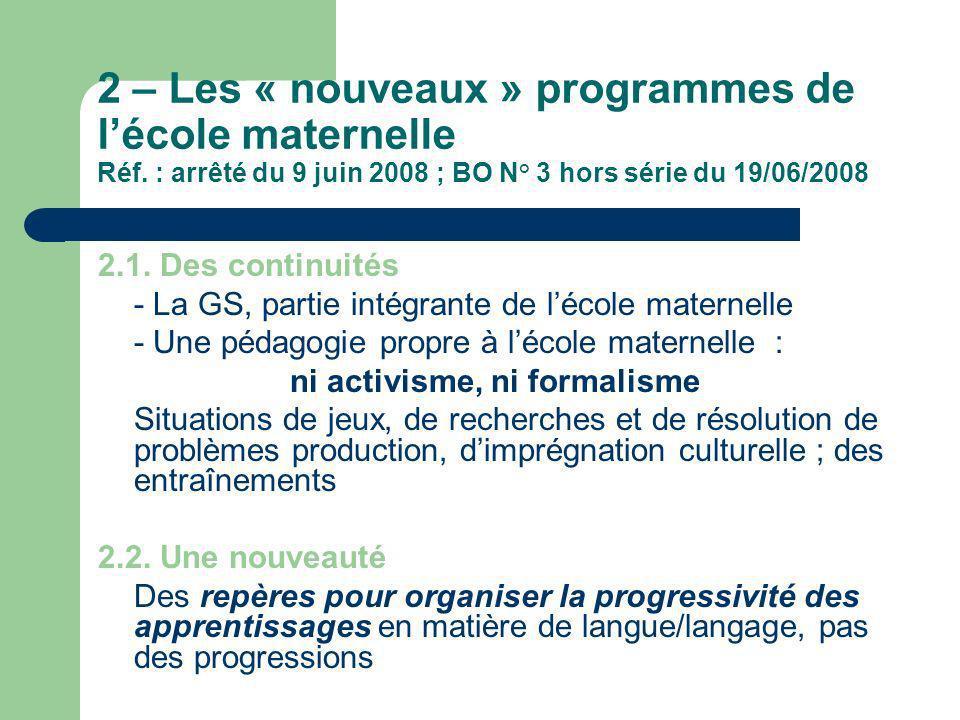 2 – Les « nouveaux » programmes de l'école maternelle Réf