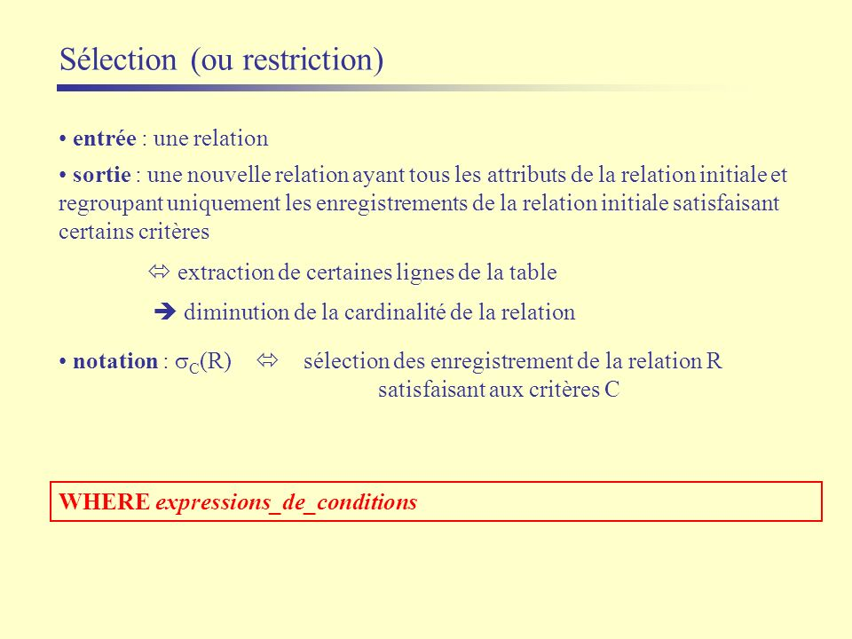 Sélection (ou restriction)