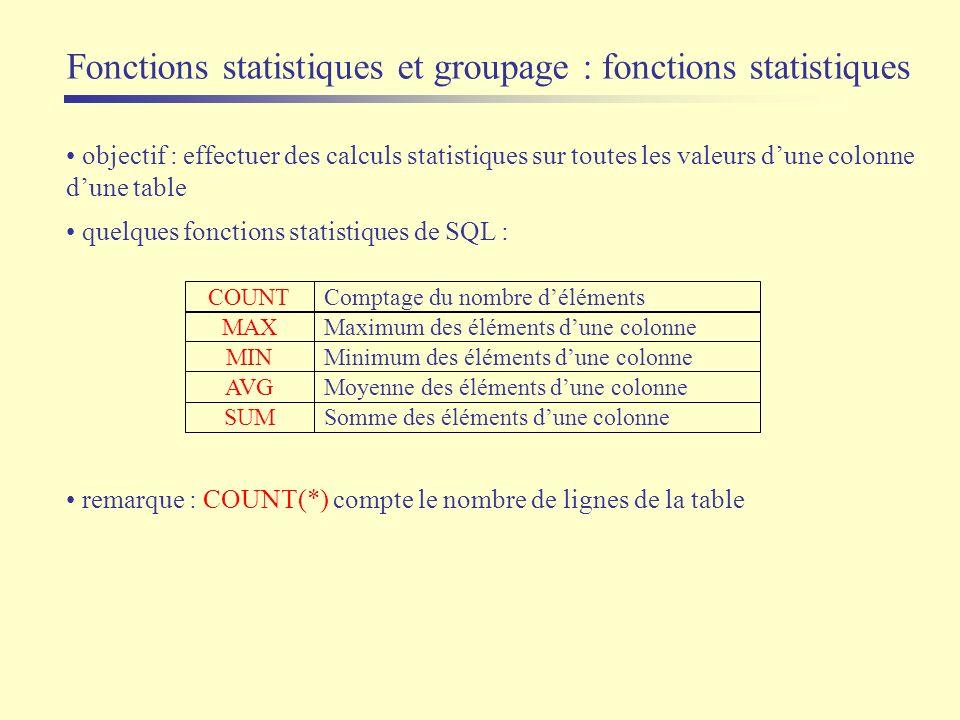 Fonctions statistiques et groupage : fonctions statistiques