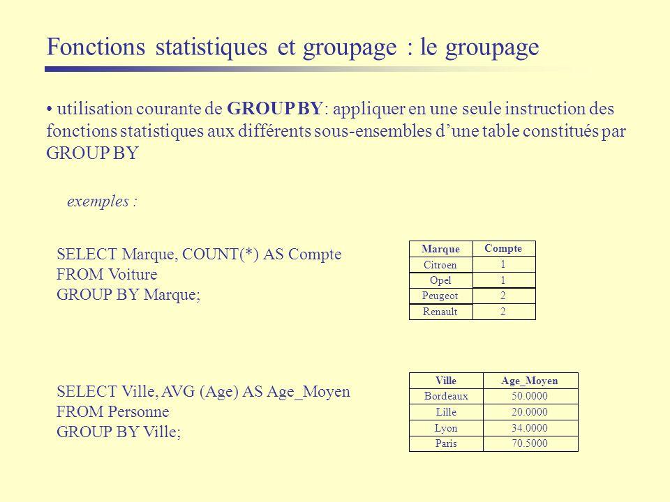 Fonctions statistiques et groupage : le groupage