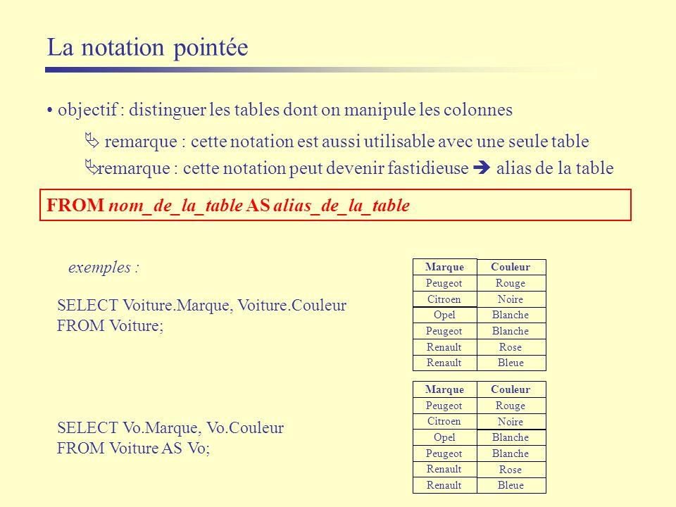La notation pointée objectif : distinguer les tables dont on manipule les colonnes.
