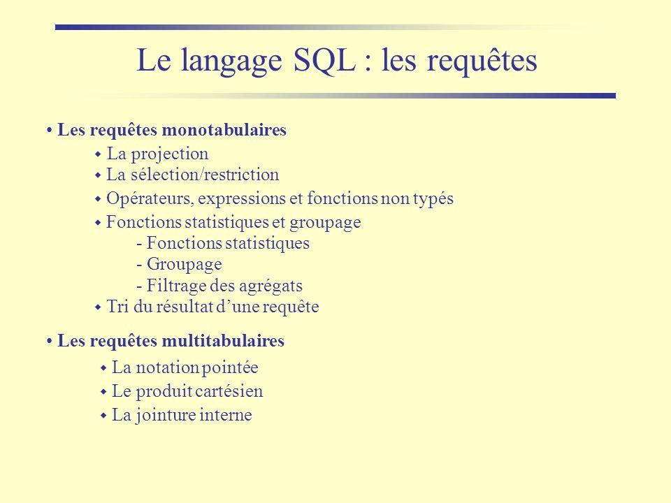 Le langage SQL : les requêtes