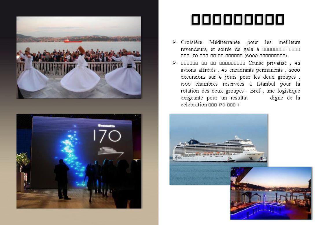 BROSSETTE Croisière Méditerranée pour les meilleurs revendeurs, et soirée de gala à Istanbul pour les 170 ans de la marque (6000 personnes).