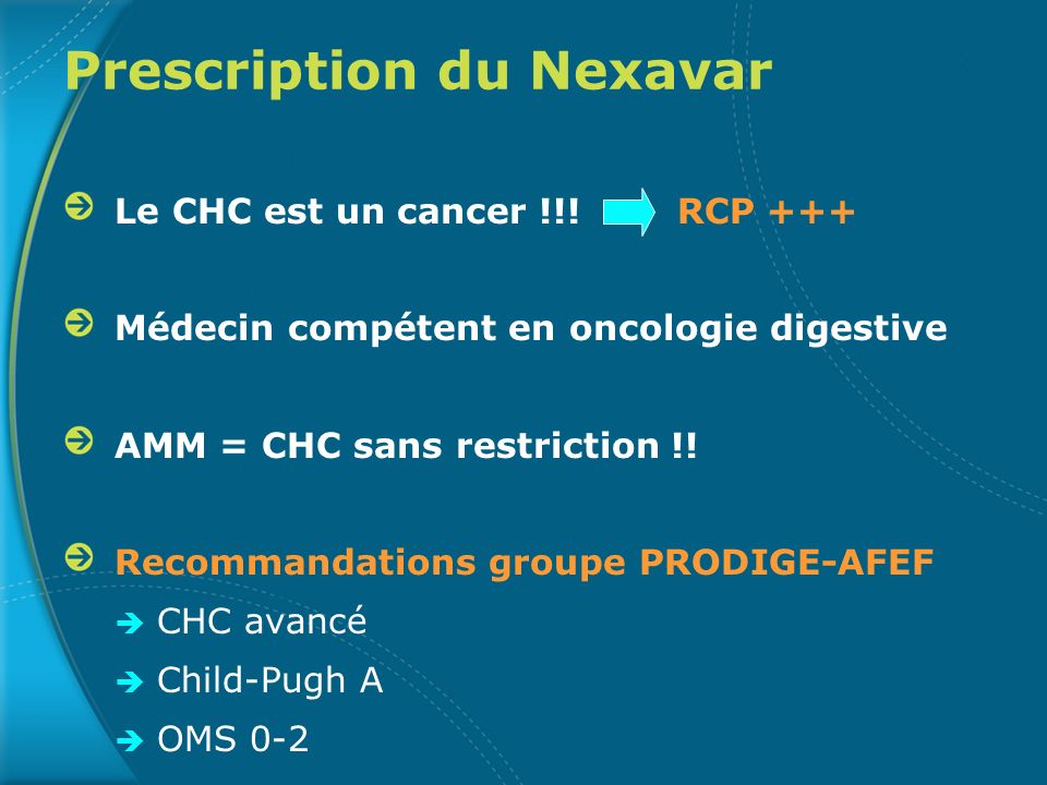 Prescription du Nexavar