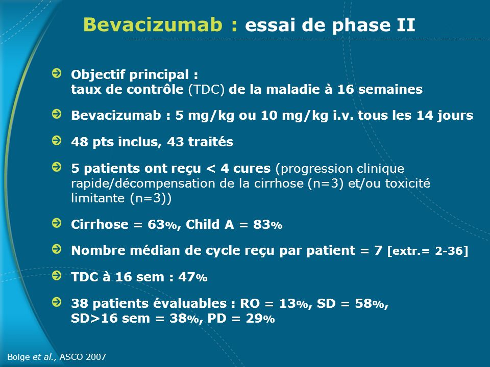 Bevacizumab : essai de phase II