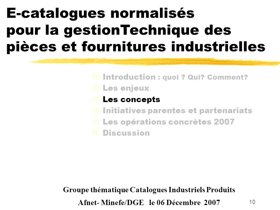E-catalogues normalisés pour la gestionTechnique des