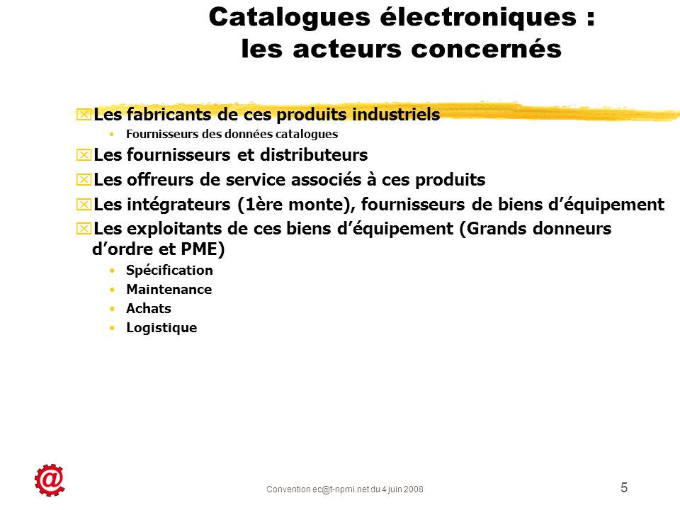 Catalogues électroniques : les acteurs concernés