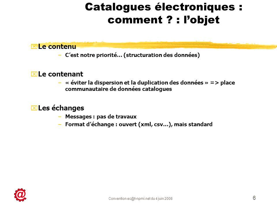 Catalogues électroniques : comment : l'objet