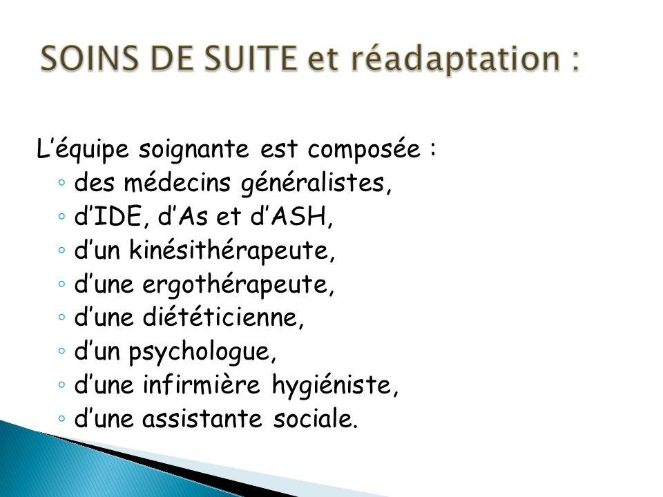 SOINS DE SUITE et réadaptation :