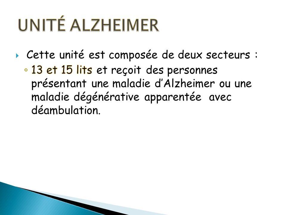Unité ALZHEIMER Cette unité est composée de deux secteurs :