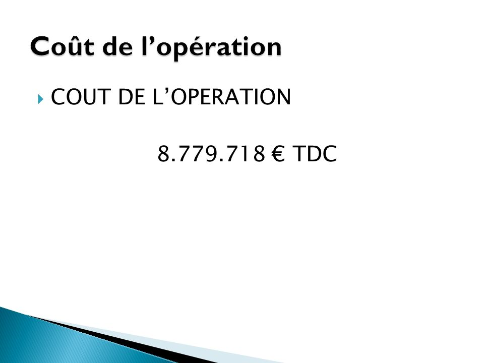 Coût de l'opération COUT DE L'OPERATION 8.779.718 € TDC