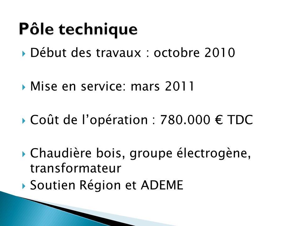 Pôle technique Début des travaux : octobre 2010