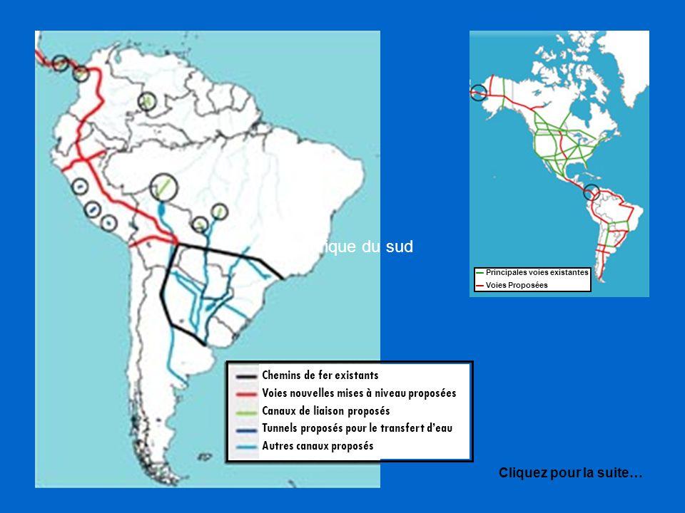 en Amérique du sud Chemins de fer existants
