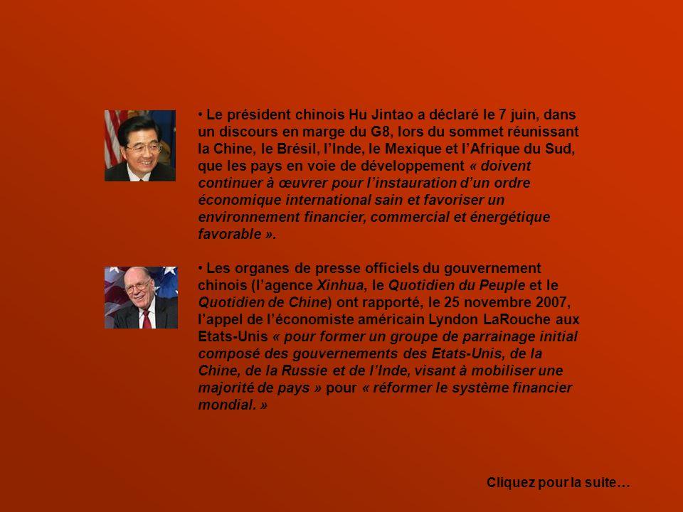 Le président chinois Hu Jintao a déclaré le 7 juin, dans un discours en marge du G8, lors du sommet réunissant la Chine, le Brésil, l'Inde, le Mexique et l'Afrique du Sud,