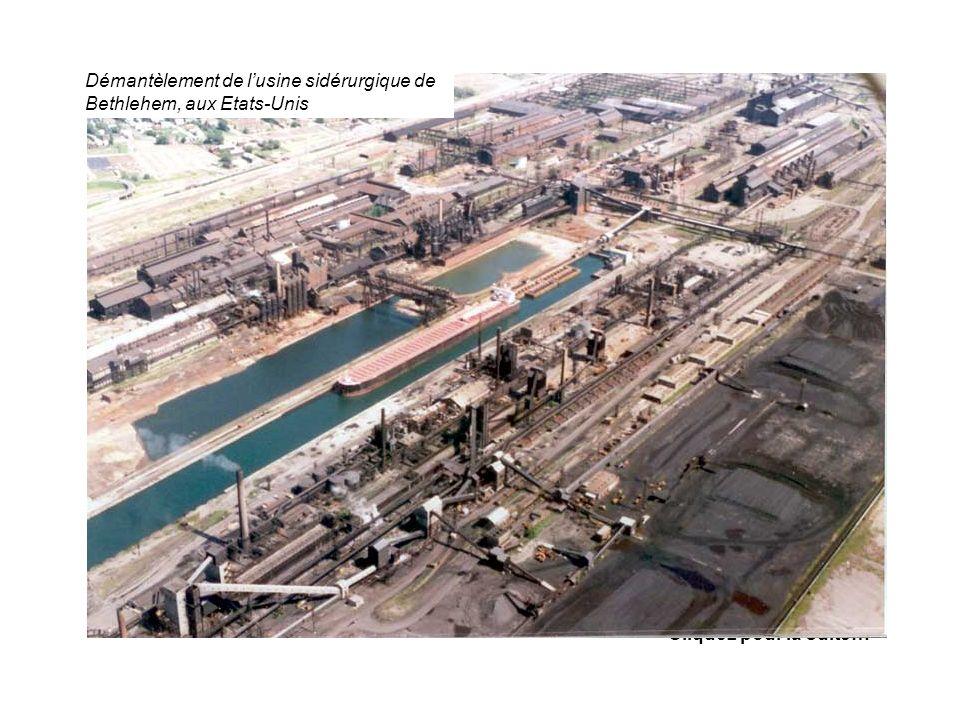 Démantèlement de l'usine sidérurgique de Bethlehem, aux Etats-Unis