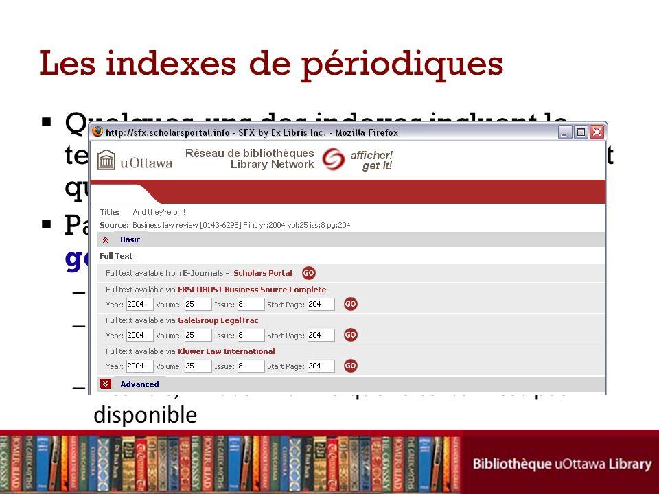 Les indexes de périodiques