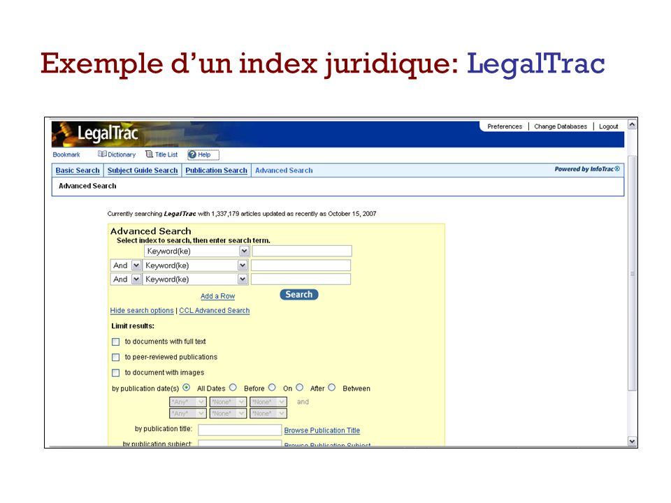 Exemple d'un index juridique: LegalTrac
