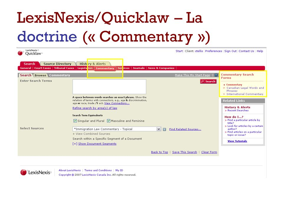 LexisNexis/Quicklaw – La doctrine (« Commentary »)