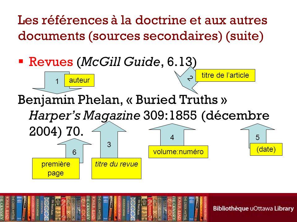 Les références à la doctrine et aux autres documents (sources secondaires) (suite)