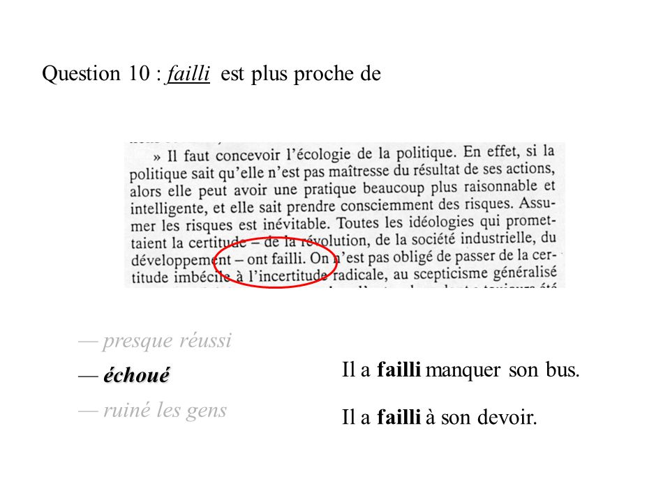 Question 10 : failli est plus proche de