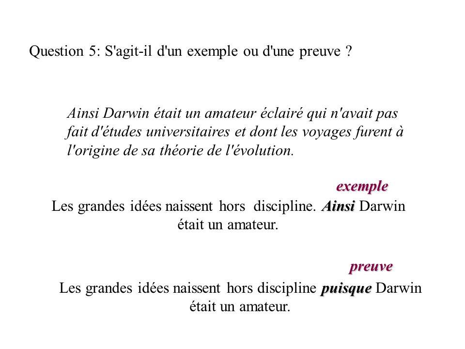 Question 5: S agit-il d un exemple ou d une preuve