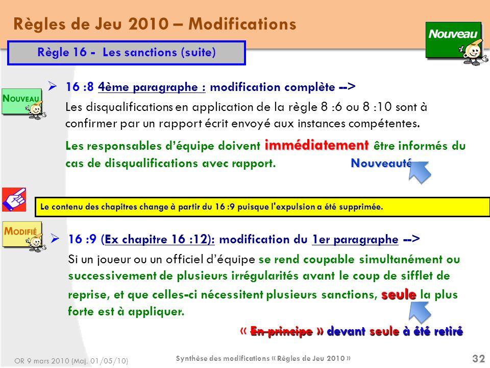 Règles de Jeu 2010 – Modifications