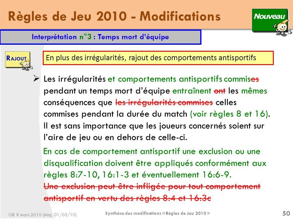 Règles de Jeu 2010 - Modifications