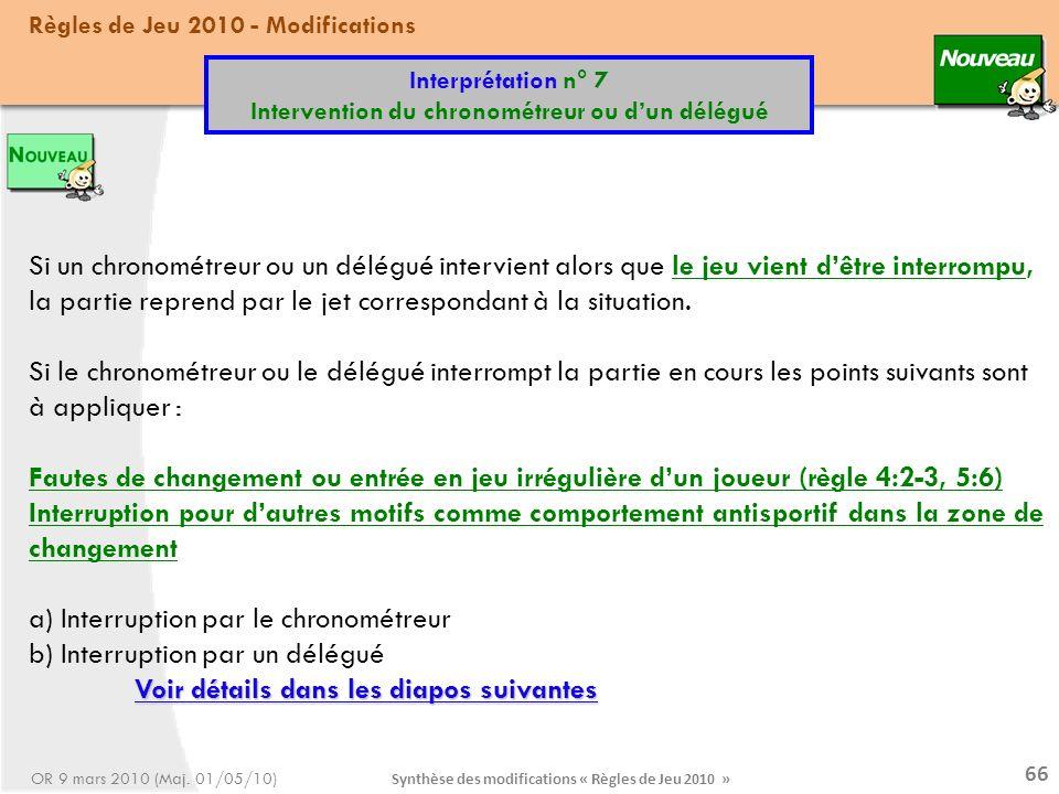 a) Interruption par le chronométreur b) Interruption par un délégué