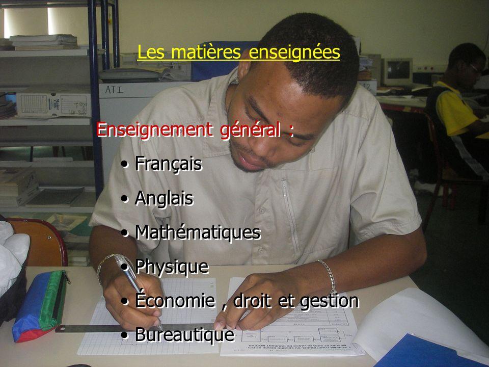 Les matières enseignées