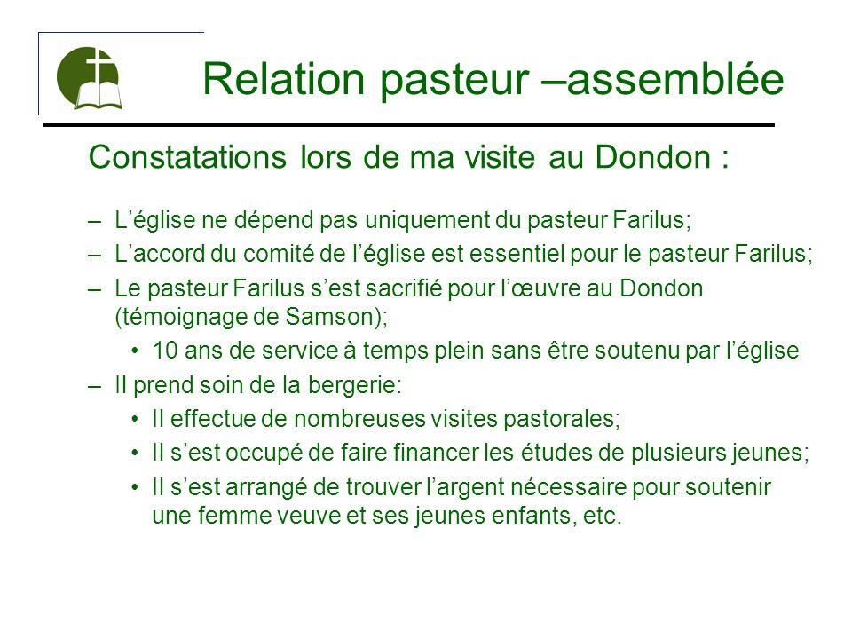 Relation pasteur –assemblée