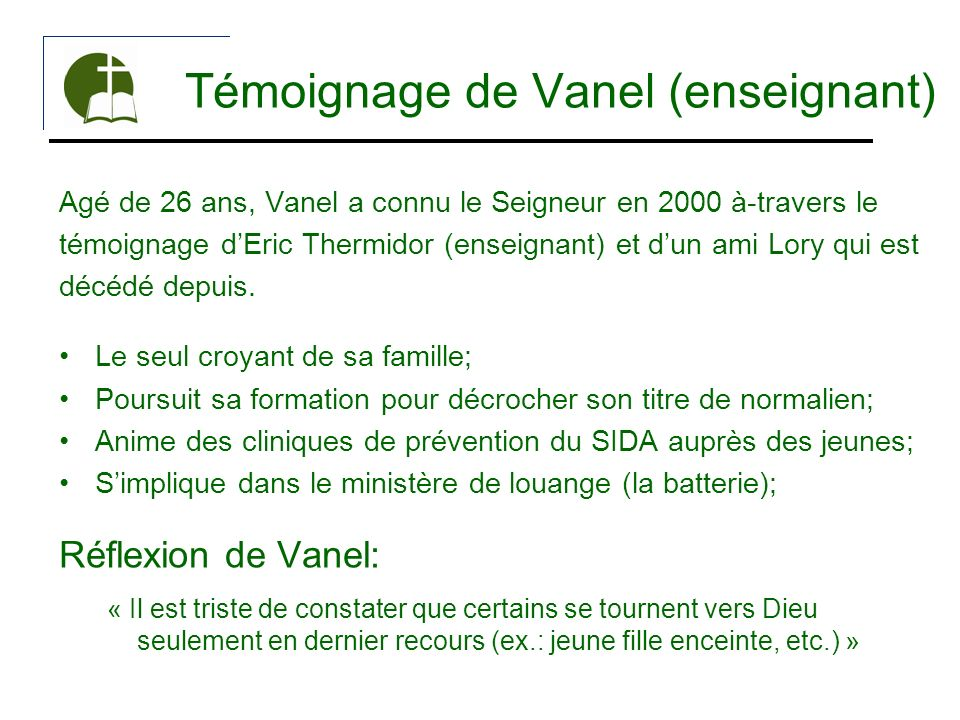 Témoignage de Vanel (enseignant)