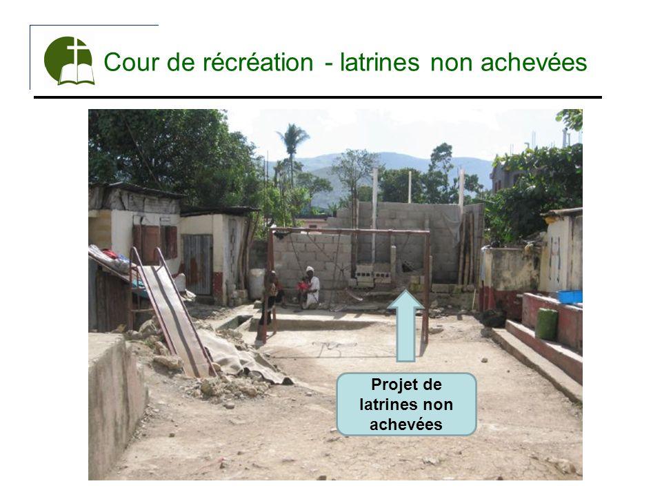 Cour de récréation - latrines non achevées