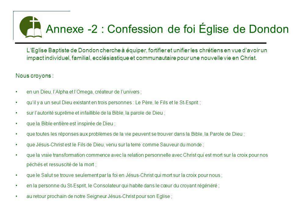 Annexe -2 : Confession de foi Église de Dondon