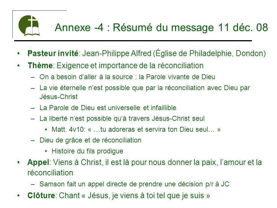 Annexe -4 : Résumé du message 11 déc. 08