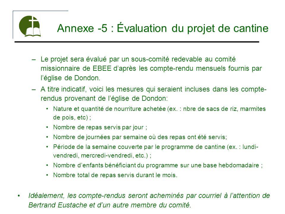 Annexe -5 : Évaluation du projet de cantine