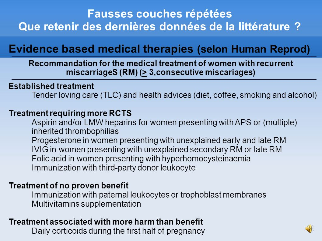 Evidence based medical therapies (selon Human Reprod)‏