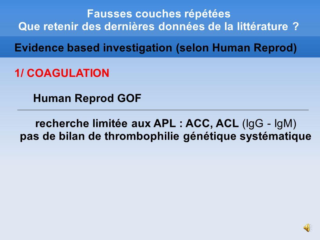 pas de bilan de thrombophilie génétique systématique