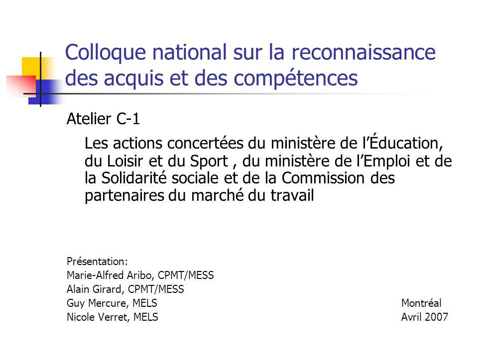 Colloque national sur la reconnaissance des acquis et des compétences