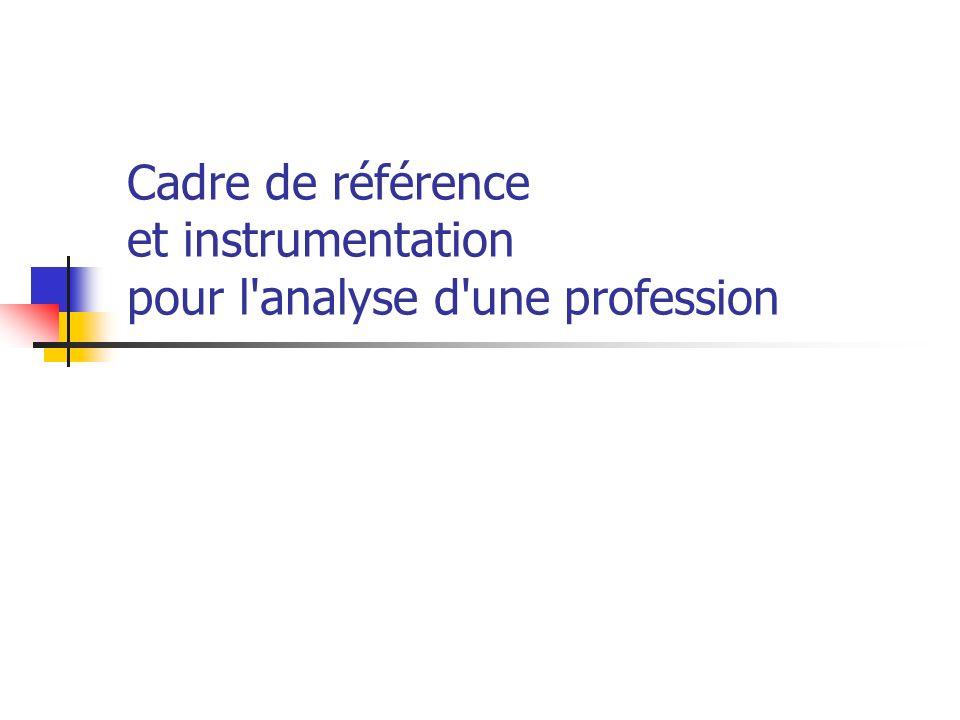 Cadre de référence et instrumentation pour l analyse d une profession