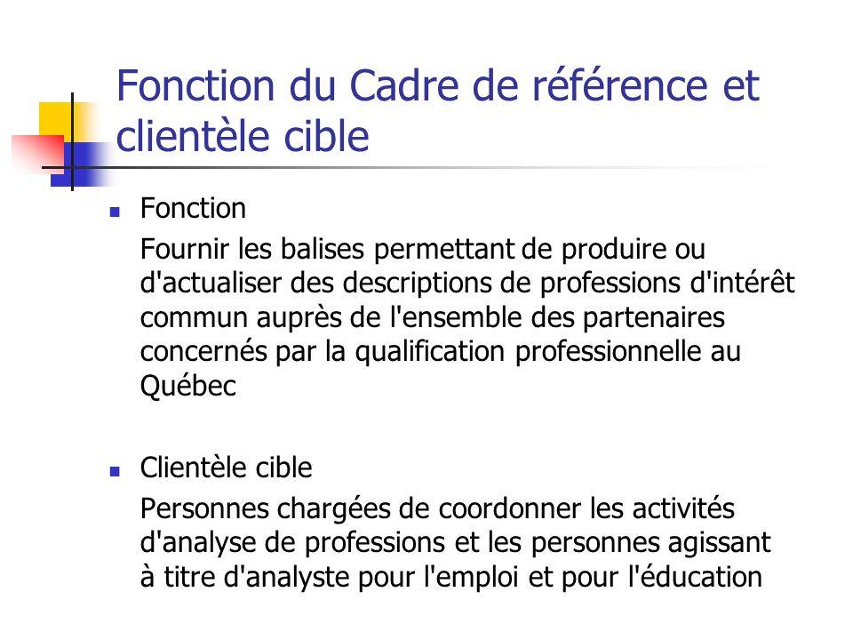 Fonction du Cadre de référence et clientèle cible